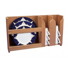 Teak Plate and Cup Rack